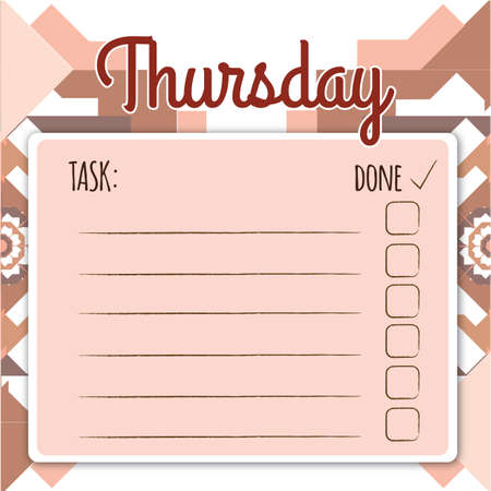 day planner: blank daily checklist template