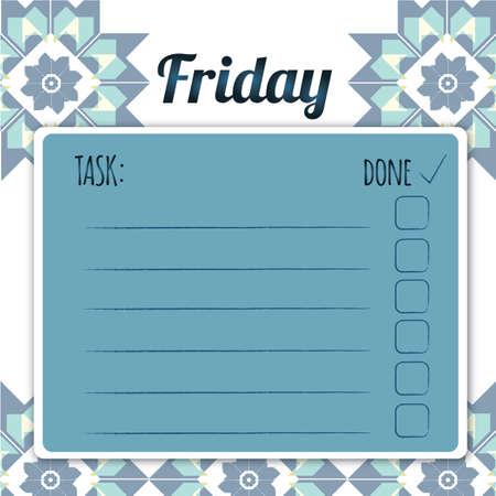 blank daily checklist template