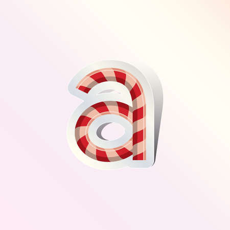 alphabet small letter a in candy cane design Illustration