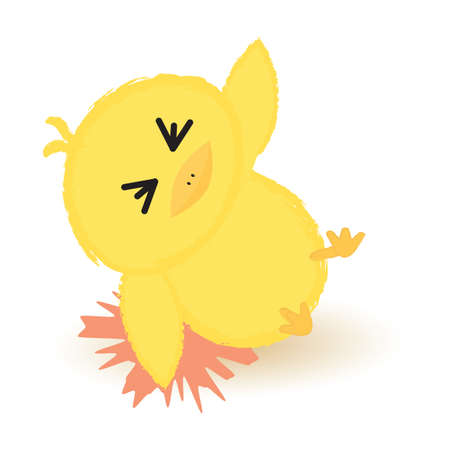 clumsy: baby chick fell down