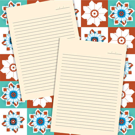 pad: blank letter pad on floral background