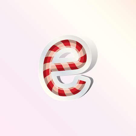 mała litera alfabetu e projektowania cukierki trzciny
