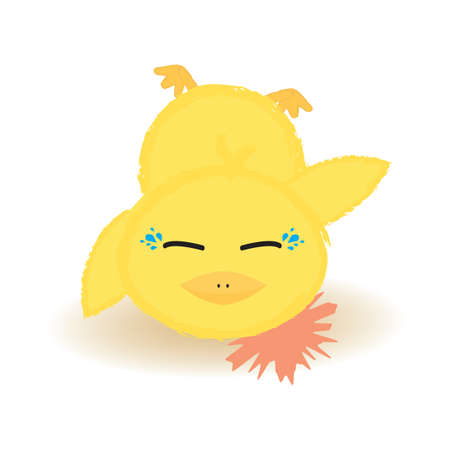 baby chick: baby chick fell down and crying Illustration