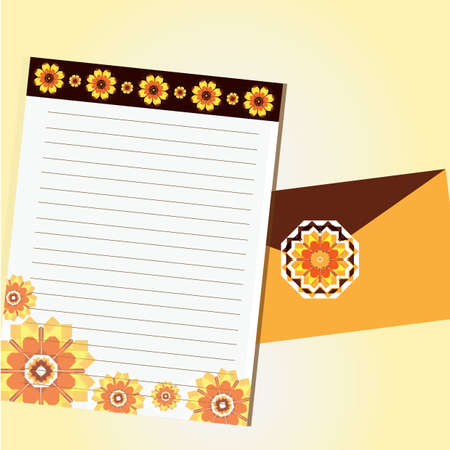 pad: blank floral letter pad with envelope