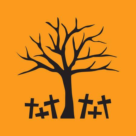 kahlen Baum mit Friedhof Vektorgrafik