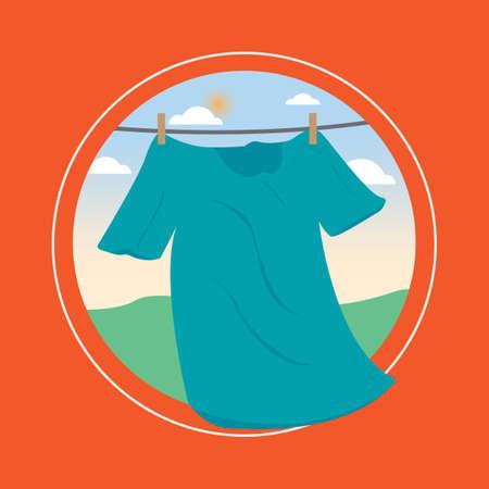 pegs: shirt drying on line Illustration