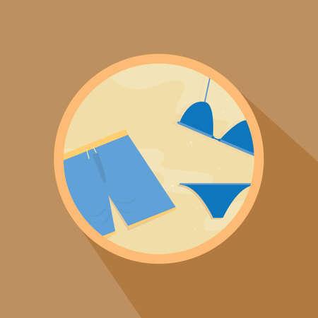 shorts: bermuda shorts and bikini in the beach Illustration