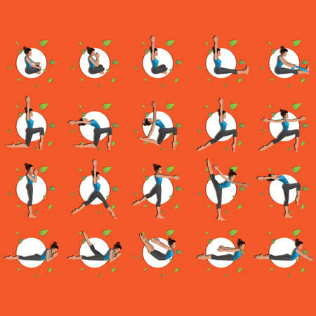 poses: woman in different yoga poses