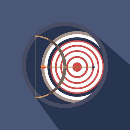 bow and arrow: bow, arrow and target Illustration