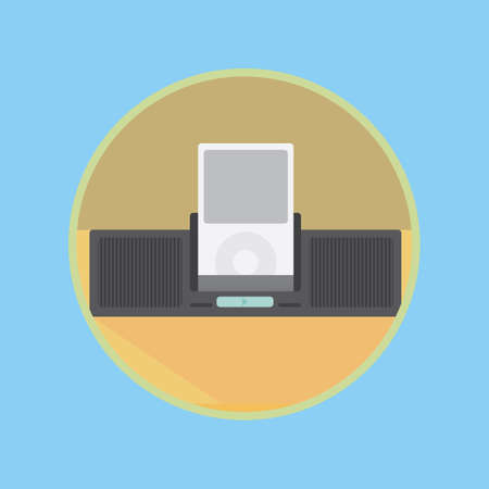 mp3: mp3 player on loudspeaker Illustration