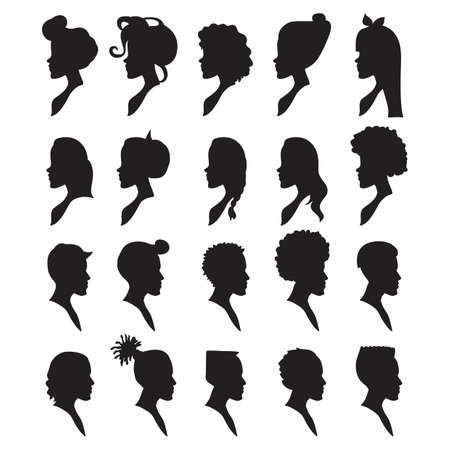 sideview: silhouettes of men and women