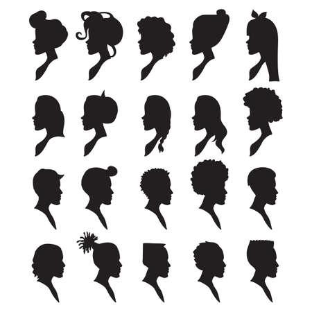 siluetas de hombres y mujeres