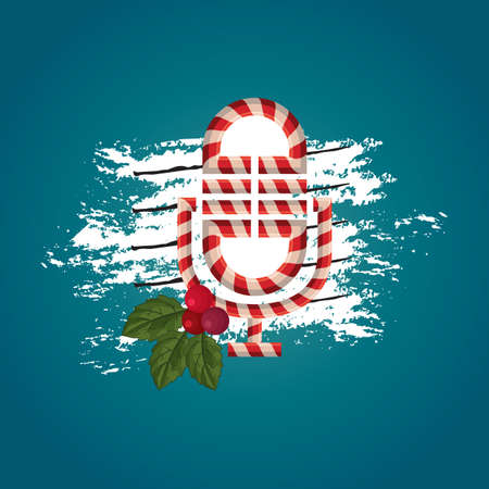 themed: christmas themed microphone vector