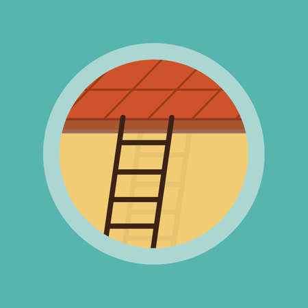 leading: ladder leading to the roof Illustration