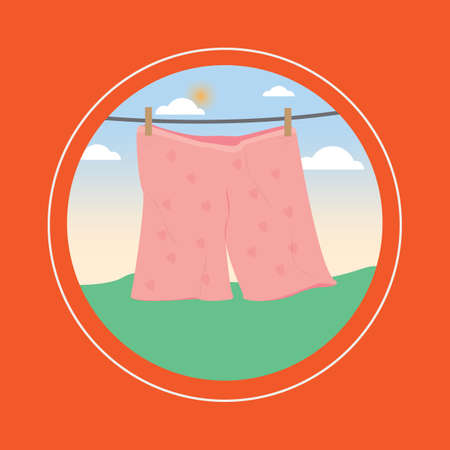 clothes pegs: shorts drying on line