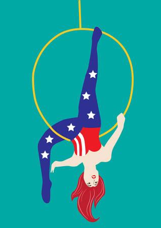 acrobat: acrobat woman in circus