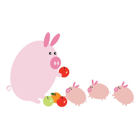 swines: pig distributing fruits to piglets cartoon Illustration