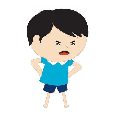 angry boy: angry boy with hands on waist Illustration