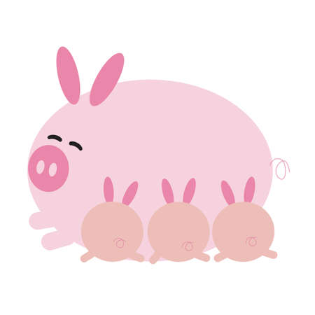 piglets: happy pig cartoon with piglets