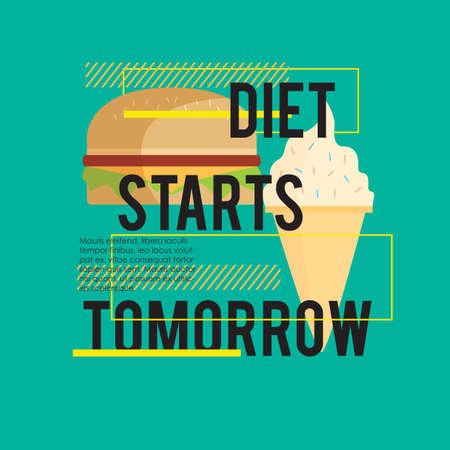 régime alimentaire commence demain devis Vecteurs