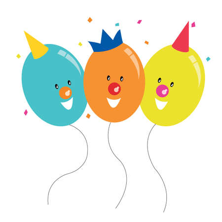 partying: balloons partying together Illustration