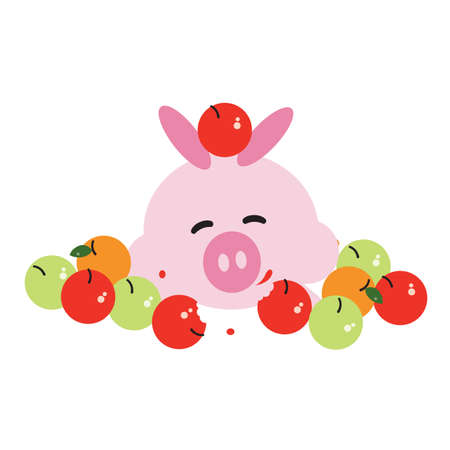 swines: pig cartoon surrounded by fruits