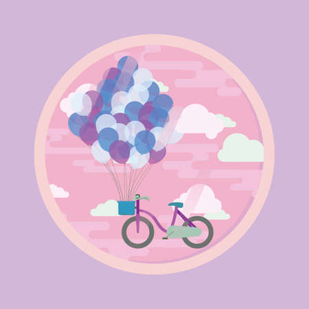lifted: bicycle lifted by flying balloons