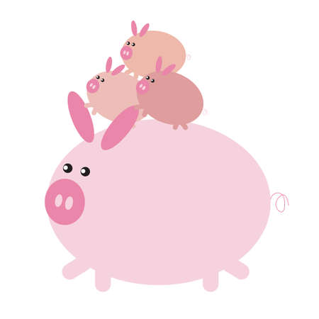 piglets: piglets on pig cartoon Illustration
