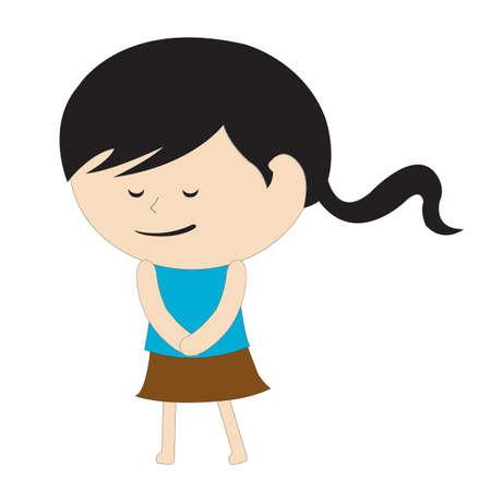 shy: girl feeling shy Illustration