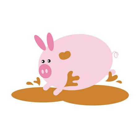 mud: pig cartoon playing in the mud