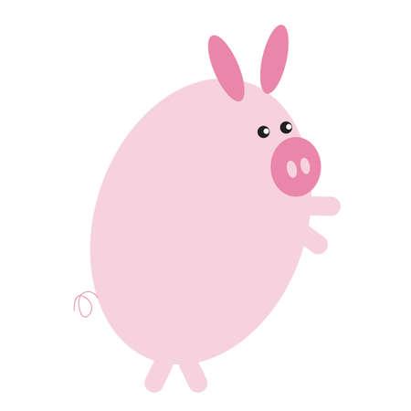 animal leg: pig cartoon standing on two legs