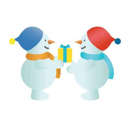 exchanging: snowman exchanging gifts Illustration