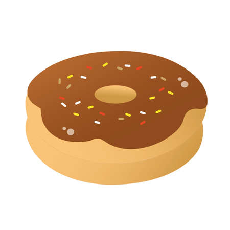 coated: donut coated with chocolate and sprinkles Illustration