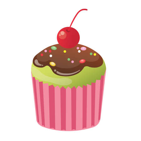 topping: cupcake with cherry topping