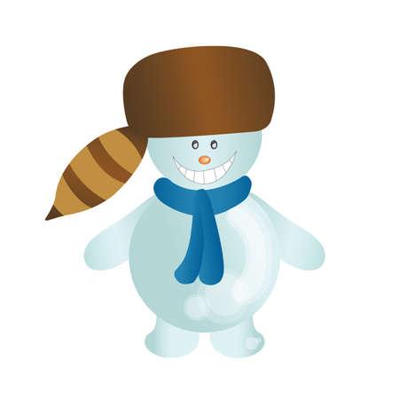 fur: snowman with fur hat Illustration