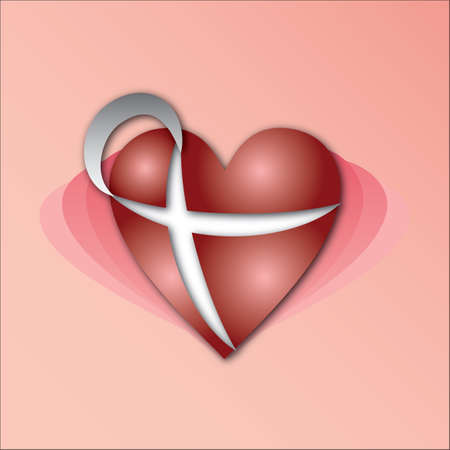 awareness ribbons: heart with ribbon sign