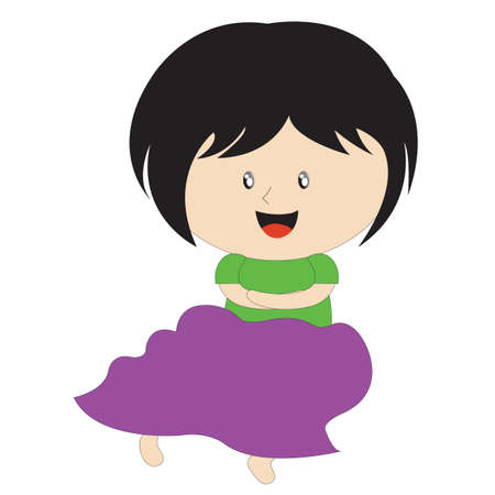 folded arms: girl smiling with folded arms Illustration