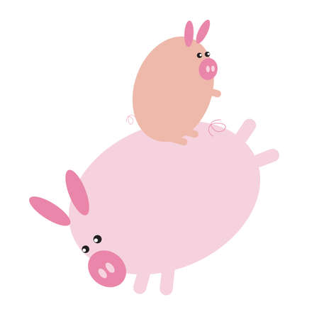 piglet: pig cartoon playing with its piglet