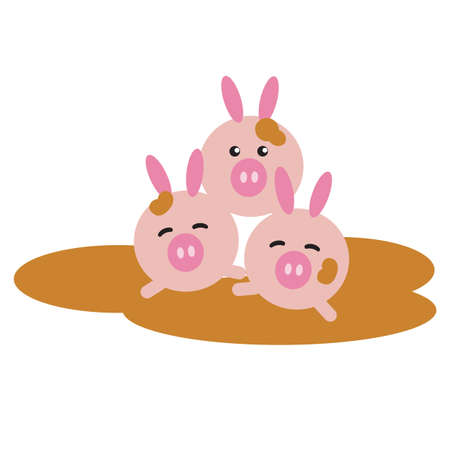 piglet: piglet cartoons playing in the mud