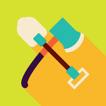 wood cutter: axe and shovel Illustration