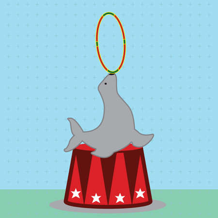 circus seal playing with ring