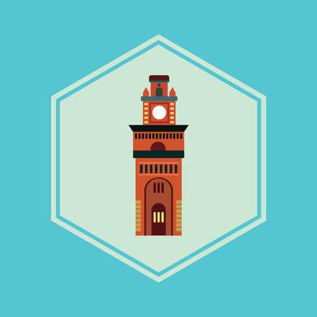 clock tower Vector Illustration