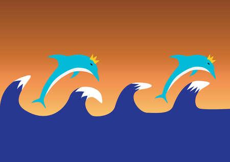ocean waves: dolphins diving with ocean waves