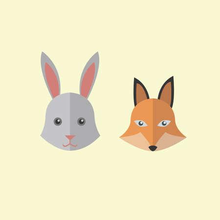 omnivore animal: rabbit and fox Illustration