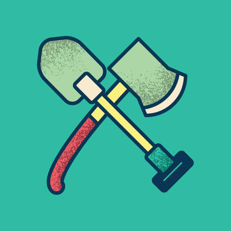 diggers: axe and shovel Illustration