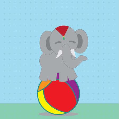 elephant standing on ball