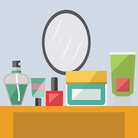 dressing up: dressing table with make up accessories Illustration