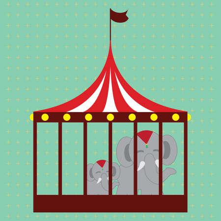 elephants in cage Illusztráció