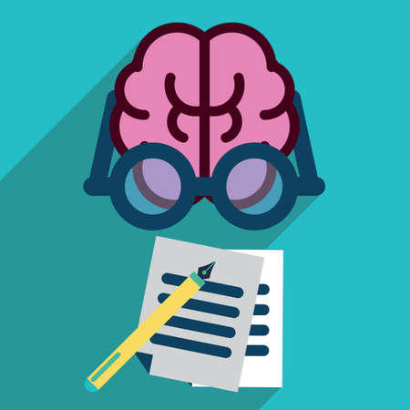 spectacles: human brain with spectacles and documents Illustration