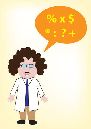 chat bubble: scientist with chat bubble Illustration